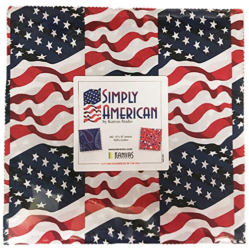"Simply American Patriotic by Kanvas Studio; 42 10"" Squares - Benartex"