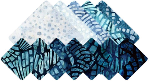 Artisan Batiks: Natural Formations Rain Colorstory by Lunn Studios; 12 Fat Quarter Bundle - Robert Kaufman