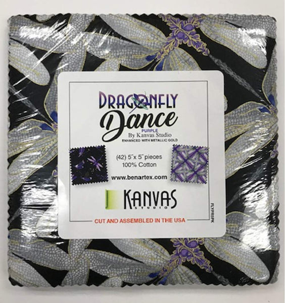 Dragonfly Dance: Purple by Kanvas Studio; 42 5-inch Squares - Benartex
