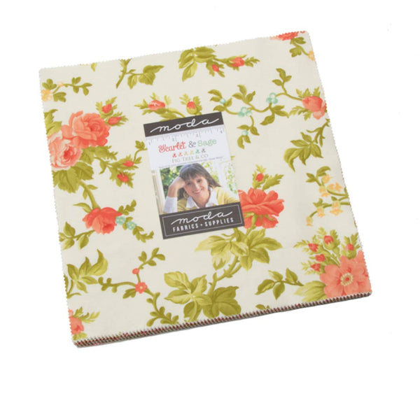 Scarlet and Sage Layer Cake by Fig Tree & Co.; 42 10 inch Squares - Moda Fabrics