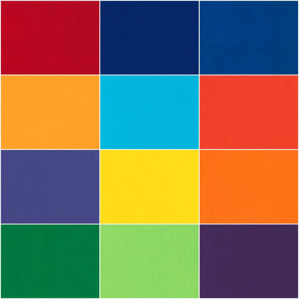 Kona Cotton Solids: Bright - Rainbow; 12 Fat Quarters - Robert Kaufman
