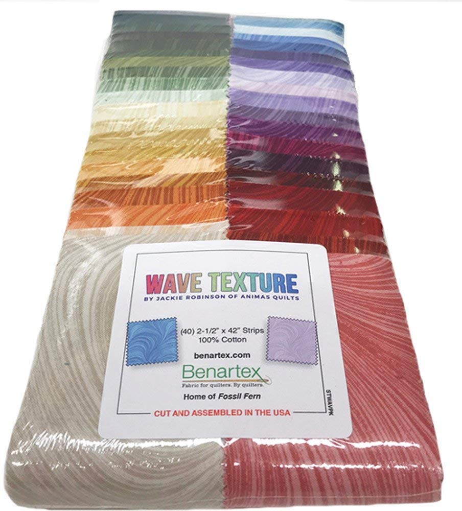 Wave Texture Strip-Pies by Jackie Robinson: 40 2.5-inch Strips - Benartex