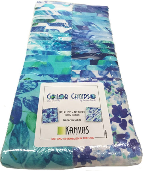 Color Calypso: Blue by Kanvas Studio; 40 2.5-inch Strip-pies - Benartex