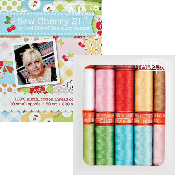 Sew Cherry 2 by Lori Holt; 10 Small Spools 50 Weight - Aurifil Thread Kit