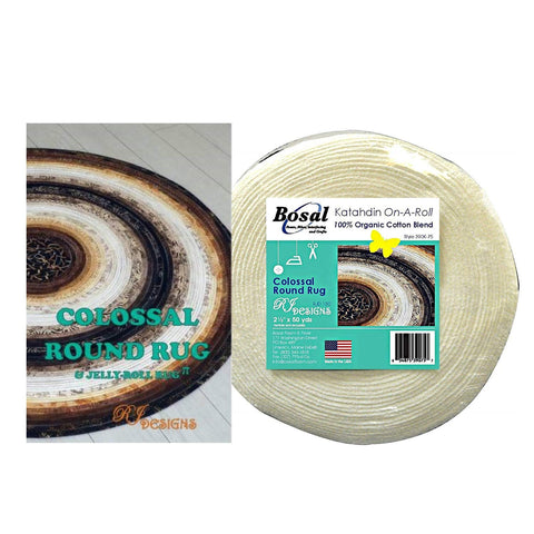 Jelly Roll Rug Colossal Round Kit Bundle, Including Pattern and One (1) 50 Yd Roll of Bosal Katahdin On-A-Roll