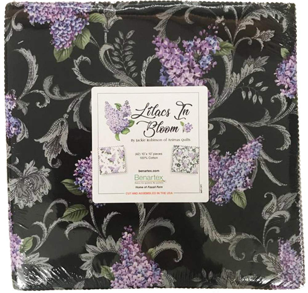 Lilacs in Bloom by Jackie Robinson; 42 10-inch Squares - Benartex