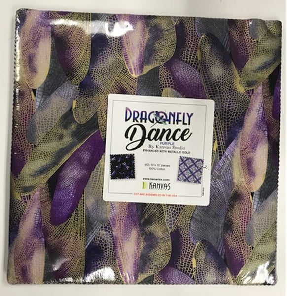 Dragonfly Dance-Purple by Kanvas Studio; 42 10-inch Squares - Benartex