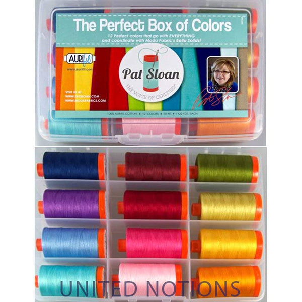 The Perfect Box of Colors Thread Set by Pat Sloan - 12 Large Spools - Aurifil