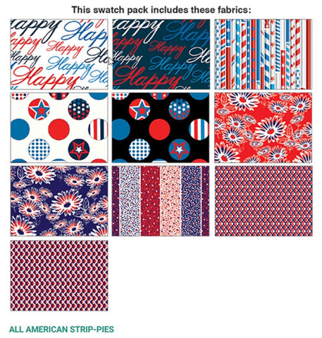 All American Patriotic Strip-Pies; 40 2.5-inch Strips - Benartex