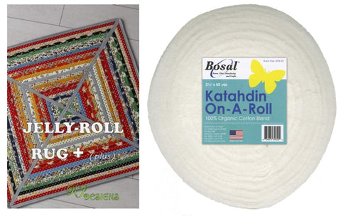 Jelly Roll Rug: Plus Square Kit Bundle - Includes Plus Pattern and One (1) 50 Yd Roll of Bosal Katahdin On-A-Roll