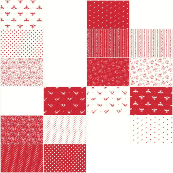 My Redwork Garden Layer Cake by Bunny Hill Designs; 42 10 inch Squares - MODA