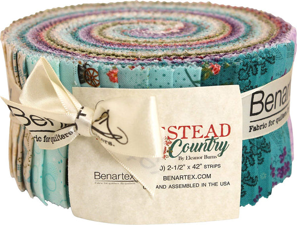 Eleanor Burns Homestead Country Pinwheel 40 2.5-inch Strips Jelly Roll Benartex