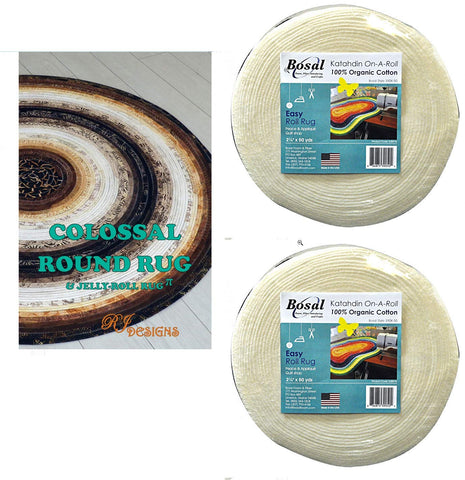Jelly Roll Rug Colossal Round Kit Bundle, Including Pattern and Two (2) 50 Yd Roll of Bosal Katahdin On-A-Roll