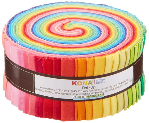 2-1/2inch Strips Roll Up Kona Cotton Solids New Bright Palette 41Pcs