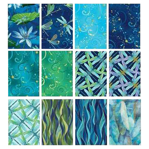 Benartex DANCE OF THE DRAGONFLY 12 Fat Quarters Cotton Fabric Quilting Assortmen