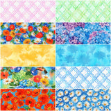 Vibrant Garden by Lynnea Washburn; 10 Fat Quarters  & 1 Panel - Robert Kaufman Fabrics