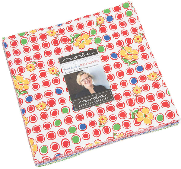 "Feed Sacks Red Rover Layer Cake, 42-10"" Squares by Linzee Kull McCray"