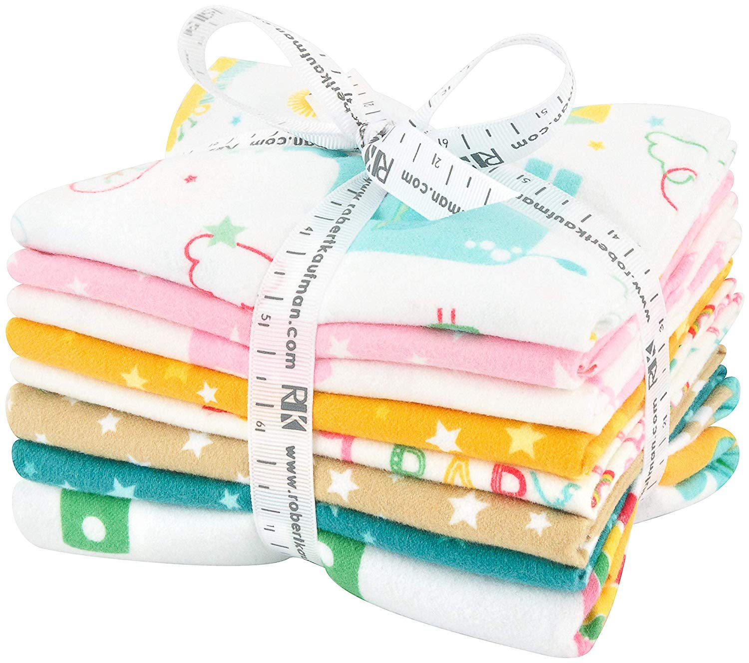 Welcome Baby Flannel -Lucy Belfield; 7 Fat Qtr w/ 1 Panel Robert Kaufman Fabrics