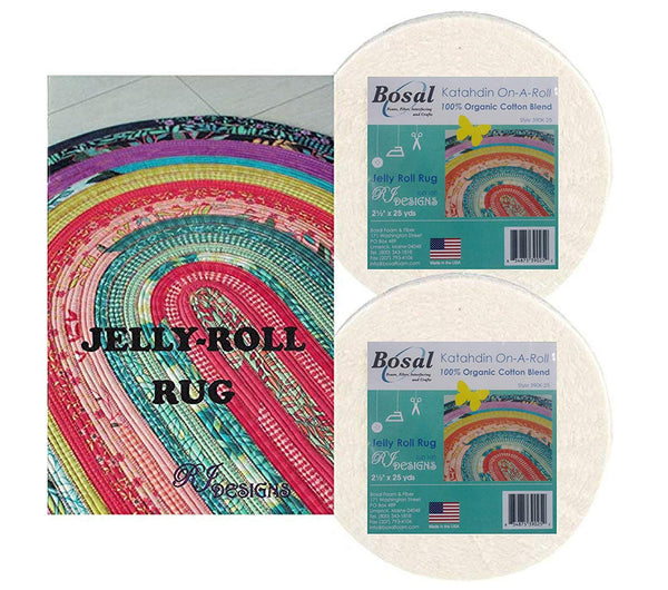 Jelly Roll Rug Kit Bundle, Including Pattern and 2 Rolls of Bosal Batting