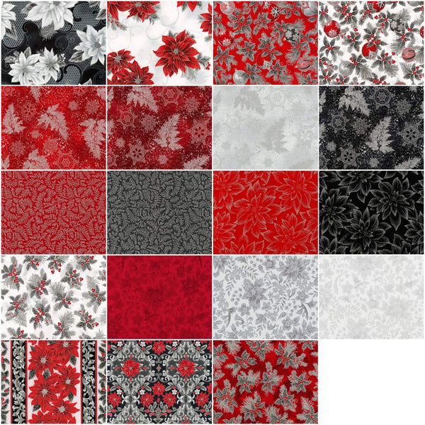 Holiday Flourish 12 - Scarlet by Peggy Toole; 19 Fat Quarters & 1 Panel - Robert Kaufman