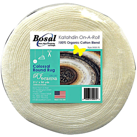 Bosal Katahdin 100% Organic Cotton Blend Batting On A Roll 2.5 inches x 50 Yards