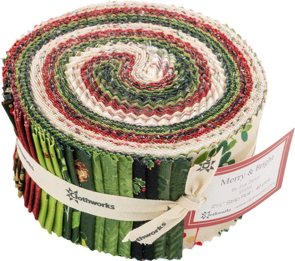 Merry & Bright Strip Roll by Sue Zipkin; 40 2.5-inch Strips - Clothworks