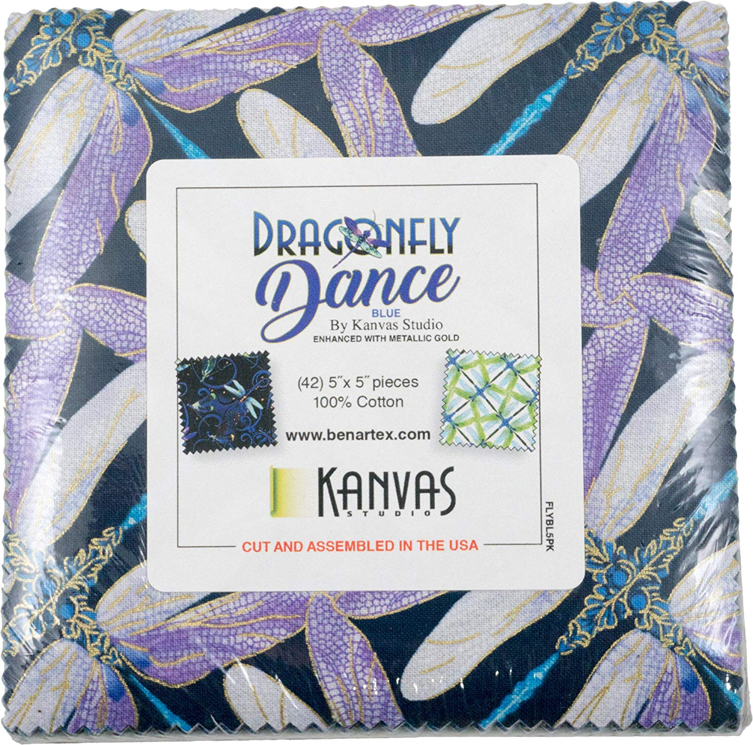 Dragonfly Dance: Blue by Kanvas Studio; 42 5-inch Squares - Benartex