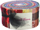 Fossil Fern DARKS Pinwheel 40 2.5-inch Strips Jelly Roll by Benartex