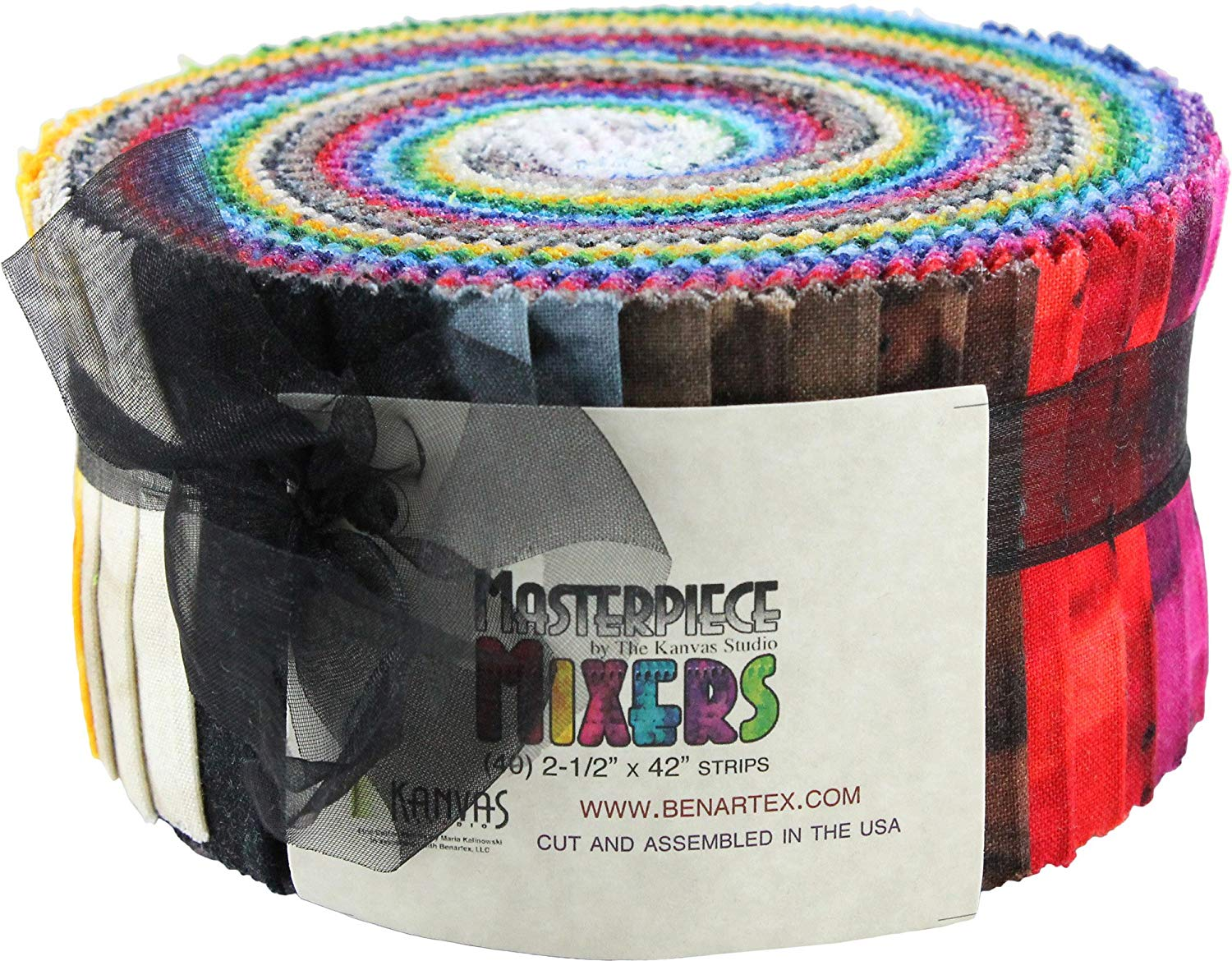 Benartex MASTERPIECE MIXERS Pinwheel 2.5-inch Quilting Strips Jelly Roll Fabric