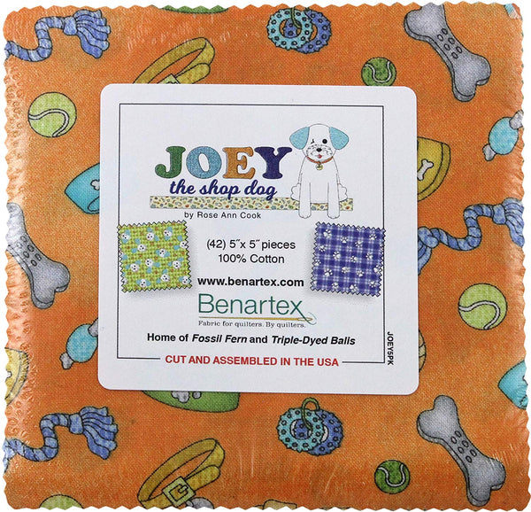 Joey the Shop Dog by Rose Ann Cook; 42 5 inch Squares - Benartex
