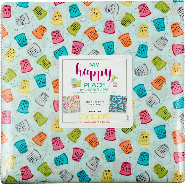 My Happy Place by Cherry Guidry - 42 10-inch Squares Layer Cake Benartex