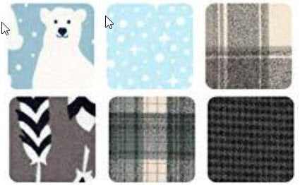 Arctic Flannel Precut Cotton FQs Assortment by Elizabeth Hartman for Robert Kaufman FQ-1408-6