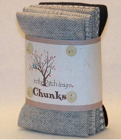 Wool Chunks - Greys - 5pcs