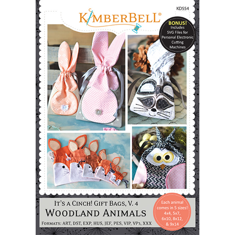 KIMBERBELL Embroidery CD: It's a Cinch! Gift Bags, Volume 4: Woodland Animals