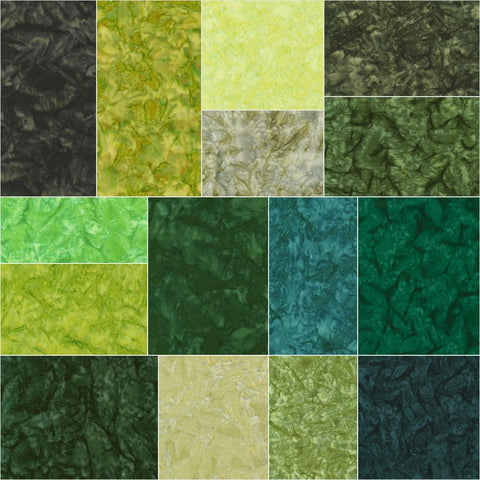 Artisan Batiks: Prisma Dyes - Rainforest Green; 40 2.5 inch Strips - Robert Kaufman