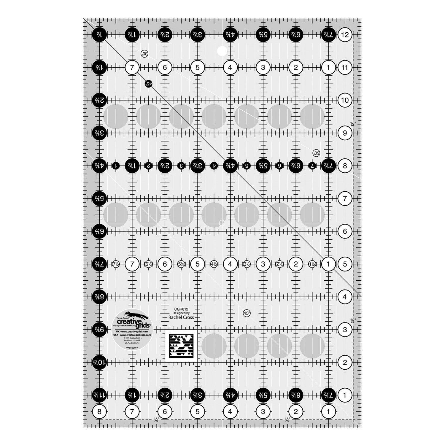"Creative Grids Quilt Ruler - 8-1/2"" x 12-1/2"" Rectangle, New CGR812"