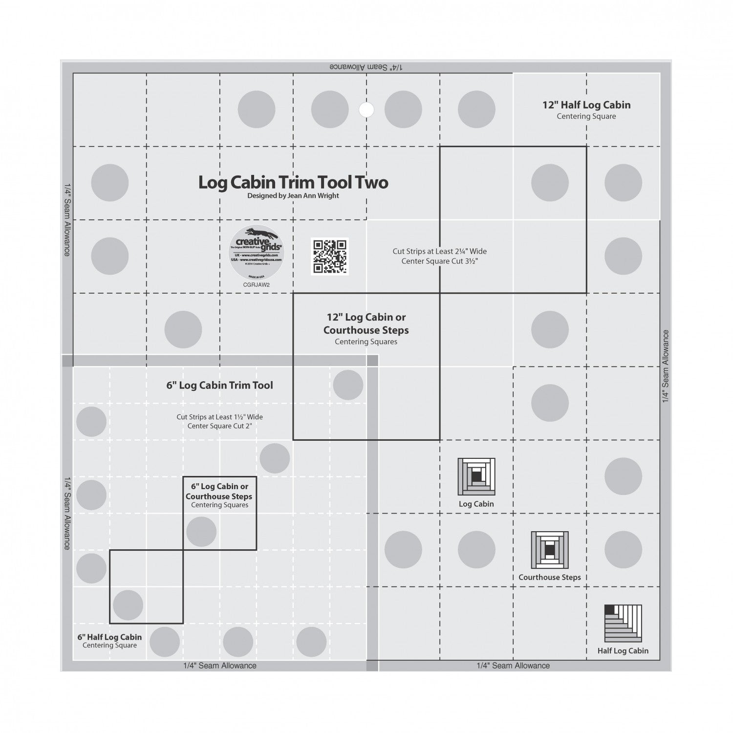"Creative Grids - 6"" and 12"" Log Cabin Ruler, CGRJAW2"
