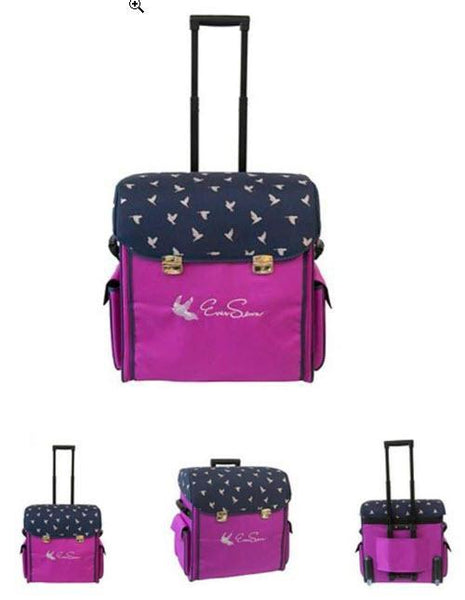 Ever Sewn Heavy Duty Machine Rolling Tote - Navy/Pink