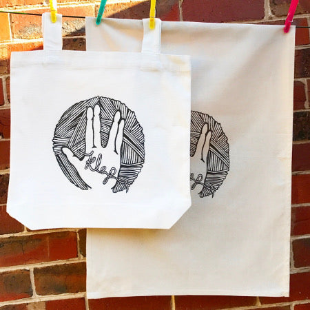Knit Long And Prosper tote and tea towel