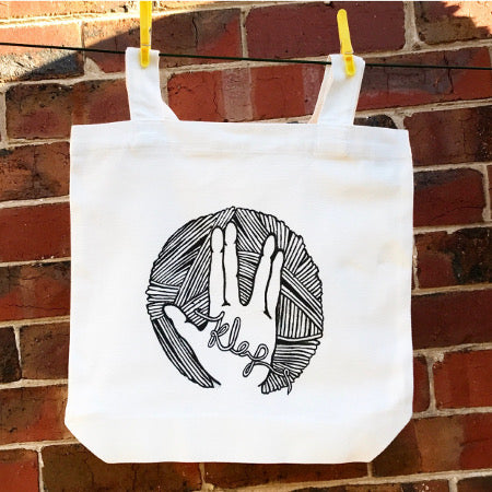Knit Long And Prosper tote or tea towel