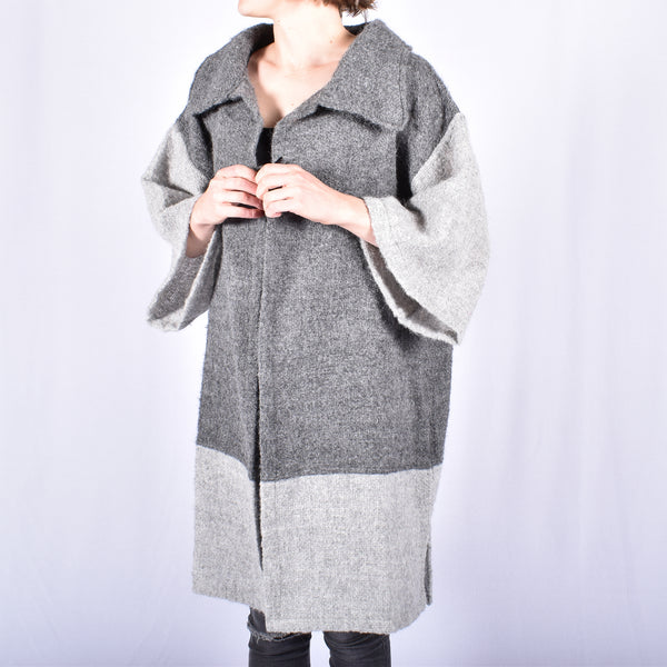 Two Tone Alpaca Boucle Coat