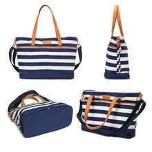 Moskka Expandable 13 Pockets Urban Diaper Tote Bag-Blue and White - Moskka