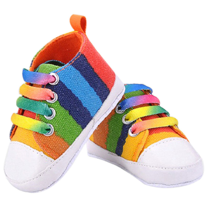 Baby Shoes Toddler Baby Rainbow Sneakers Moccasins Shoes For Girls Classic Canvas Children's Shoes Soft Footwear