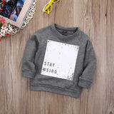 Soft Long Sleeve Crew Neck Deigner Sweat Shirt 'Stay Weird'