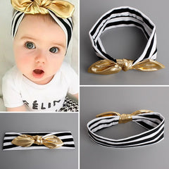 Black, White Striped Baby Girl Headband w/ Gold Bow