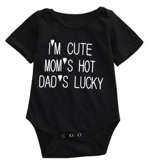 Unisex 'I'm Cute, Mom's Hot, Dad's Lucky' Onesie