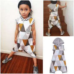 Art Deco Sleeveless Hooded Harem Jumpsuit [unisex]