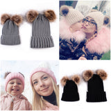 Matching Mommy & Me Dual Faux Fur Pom Beanie