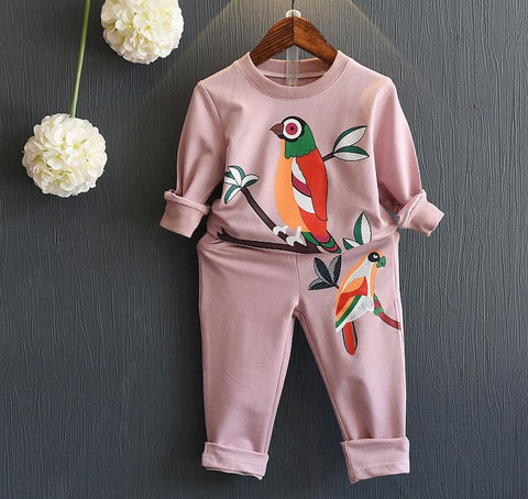 Vintage-Style Parrot Print 2-PC. Sweatshirt + Bottom Set