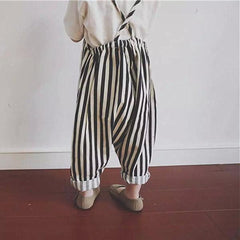 'Beetlejuice' Striped Harem Overalls